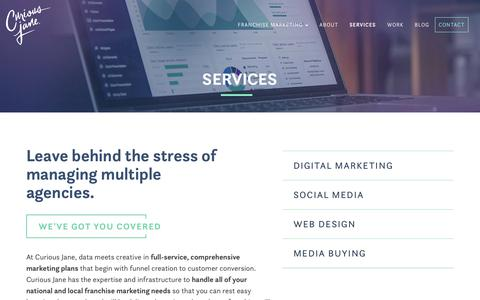 Screenshot of Services Page curiousjane.com - Franchise Marketing Services | Curious Jane - captured July 4, 2018