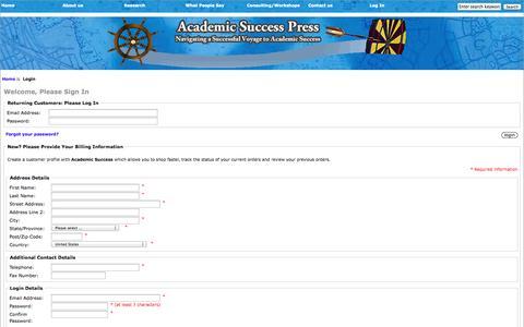 Screenshot of Login Page academicsuccess.com - Login : Zen Cart!, The Art of E-commerce - captured Nov. 3, 2014