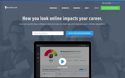 Screenshot of Home Page brandyourself.com - Online Reputation Management | BrandYourself.com - captured Jan. 12, 2018