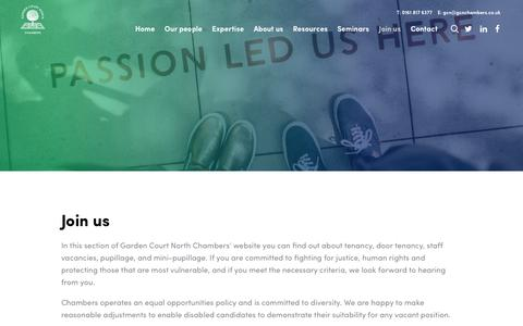 Screenshot of Signup Page gcnchambers.co.uk - Join us   Garden Court North - captured Sept. 27, 2018