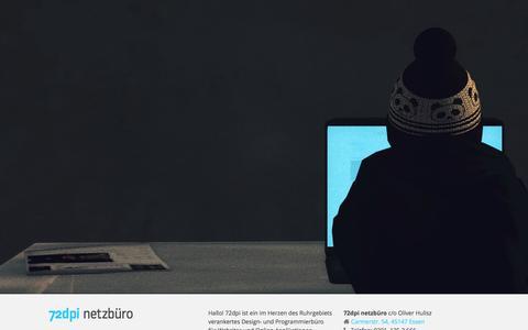 Screenshot of Home Page 72dpi.de - 72dpi netzbüro | Design und Web Development aus Essen, NRW - captured Sept. 30, 2014