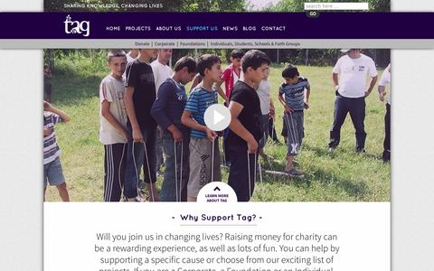 Screenshot of Support Page tagdevelopment.org - Support us | Tag - captured Oct. 7, 2014