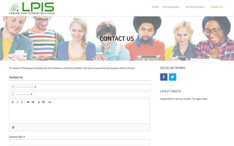 Screenshot of Contact Page lpis-uk.com - Contact Us – Leisure Park Internet Solutions - captured Sept. 28, 2018
