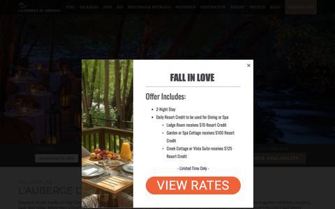 Screenshot of Home Page lauberge.com - L'Auberge de Sedona   A Luxury Sedona Resort   Vacation Lodging - captured Sept. 22, 2018
