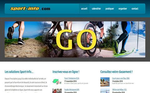Screenshot of Home Page sport-info.com - Sport Info - Chronométrage et services - captured Oct. 27, 2018