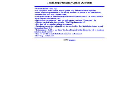 Screenshot of FAQ Page testak.org - Testak.org: Frequently Asked Questions. - captured Jan. 22, 2017