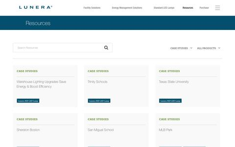 Screenshot of Case Studies Page lunera.com - Resources - Lunera - Lunera - captured Nov. 13, 2016