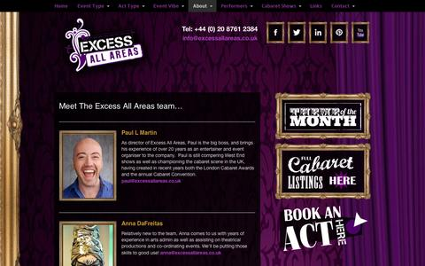 Screenshot of Team Page excessallareas.co.uk - Entertainment Agency | Book Acts | Hire Performers - captured Oct. 28, 2014