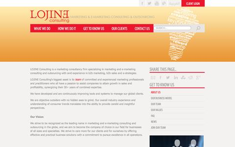 Screenshot of About Page lojine.com - About Us |Marketing and E-Marketing Consulting & Outsourcing - captured Oct. 1, 2014