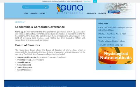 Screenshot of Team Page gunainc.com - LEADERSHIP | GUNA INC. - captured July 25, 2018
