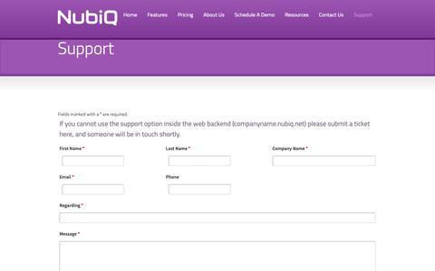 Screenshot of Support Page nubiq.us - NubiQ | Support - captured Nov. 7, 2018