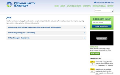 Screenshot of Jobs Page communityenergyinc.com - Jobs   Community Energy - captured July 4, 2016