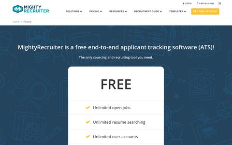 Screenshot of Pricing Page mightyrecruiter.com - Free Applicant Tracking Software (ATS) | MightyRecruiter - captured July 6, 2018