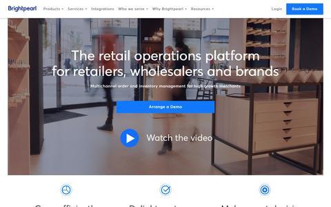 Screenshot of Home Page brightpearl.com - Omnichannel Retail Software - Retail Management - Brightpearl - captured July 21, 2019