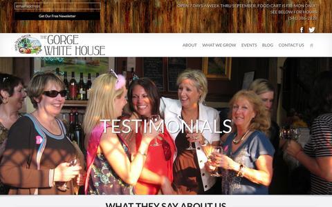 Screenshot of Testimonials Page thegorgewhitehouse.com - Testimonials - The Gorge White House - captured Sept. 26, 2014