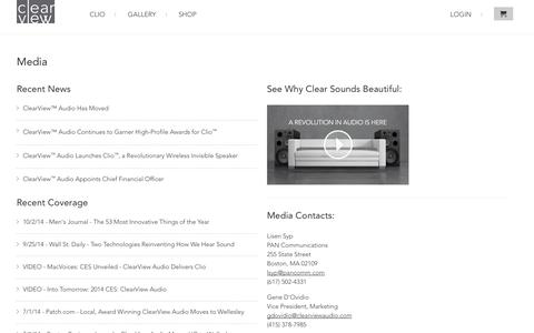 Screenshot of Press Page clearviewaudio.com - News and Media | Clearview Audio                           | ClearView Audio - captured Oct. 30, 2014