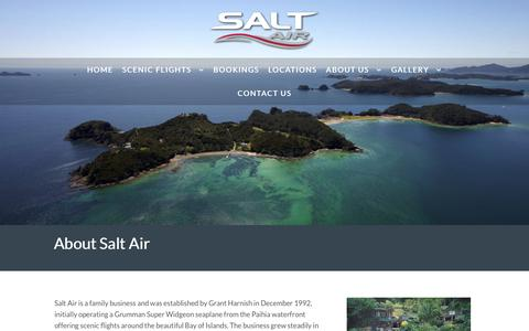 Screenshot of About Page saltair.co.nz - Northland Scheduled Air Service and Scenic Flight Tour Operator - captured Nov. 6, 2018
