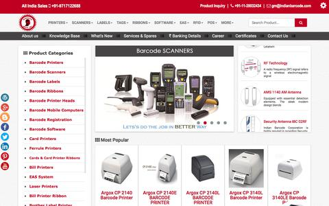 Screenshot of Home Page indianbarcode.com - INDIAN BARCODE, Barcode printer,label Printer,barcode Labels, barcode Scanners, Thermal Ribbons Manufacturer & Supplier - captured July 2, 2017