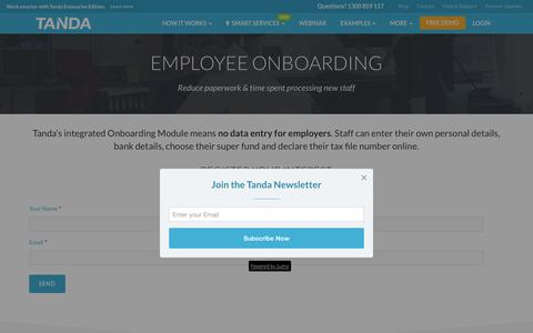 Screenshot of tanda.co - Employee Onboarding Software | Paperless Staff Onboarding | Tanda - captured March 2, 2017