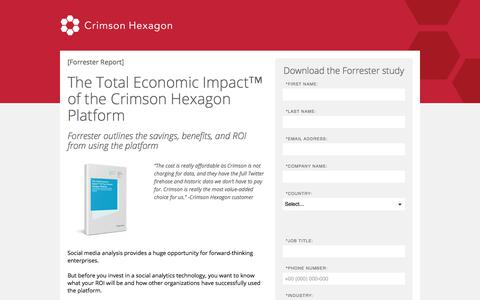 Screenshot of Landing Page crimsonhexagon.com - Forrester Social Media Analysis | Total Economic Impact Crimson Hexagon - captured March 3, 2018