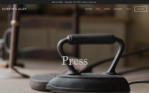 Screenshot of Press Page elfrethsalley.org - Press — Elfreth's Alley - captured Nov. 5, 2016