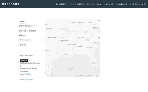 Screenshot of Locations Page usepressbox.com - Locations — Pressbox - captured Nov. 11, 2016