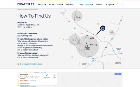 Screenshot of Maps & Directions Page paessler.com - Driving Directions Paessler AG in Nuremberg, Germany - captured March 19, 2018