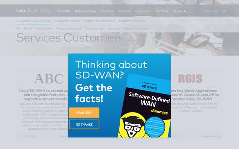 Screenshot of Services Page velocloud.com - VMware SD-WAN by VeloCloud | Services Customers - captured Aug. 12, 2019