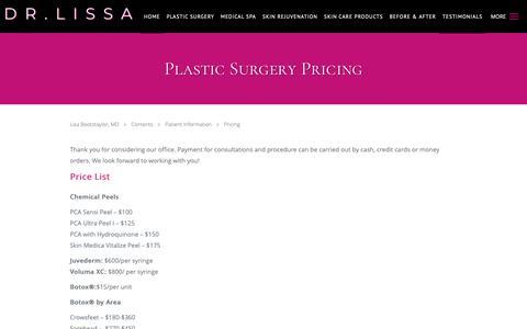 Screenshot of Pricing Page drlissa.com - Plastic Surgery Pricing - Atlanta, GA - captured Dec. 4, 2018
