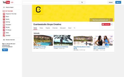 Screenshot of YouTube Page youtube.com - Cuartoestudio Grupo Creativo  - YouTube - captured Oct. 23, 2014