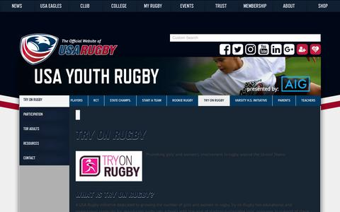 Screenshot of usarugby.org - Try On Rugby – USA Rugby - captured Oct. 7, 2017