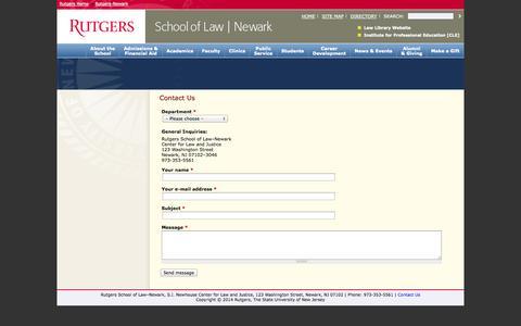 Screenshot of Contact Page rutgers.edu - Contact Us   Rutgers School of Law-Newark - captured Sept. 18, 2014