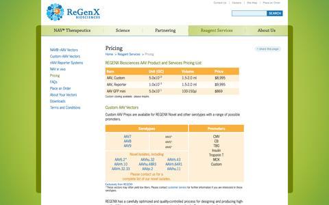 Screenshot of Pricing Page regenxbio.com - ReGenX Biosciences : Pricing - captured Oct. 22, 2014