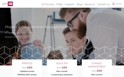 Screenshot of Home Page pmiq.co.uk - PMIQ Project and Programme Management Training - captured Sept. 30, 2018