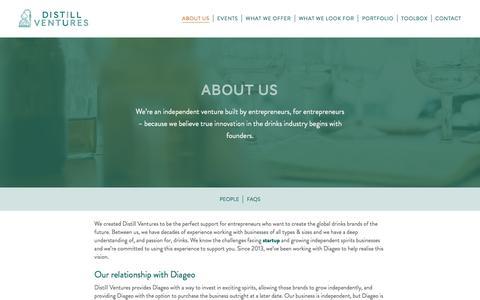 Screenshot of About Page distillventures.com - About Distill Ventures - Spirits Business Investment - captured June 4, 2017