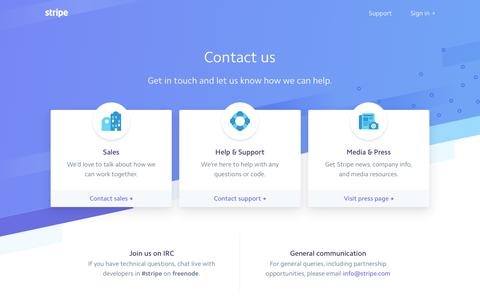 Stripe: Contact Us