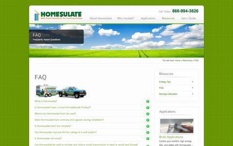 Screenshot of FAQ Page homesulate.com - FAQ - Homesulate – Wall Foam Insulation for Existing Homes - captured Sept. 30, 2014