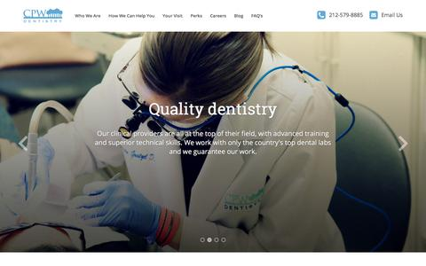 Screenshot of Home Page cpwdentistry.com - Welcome to Central Park West Dentistry - captured Sept. 18, 2017