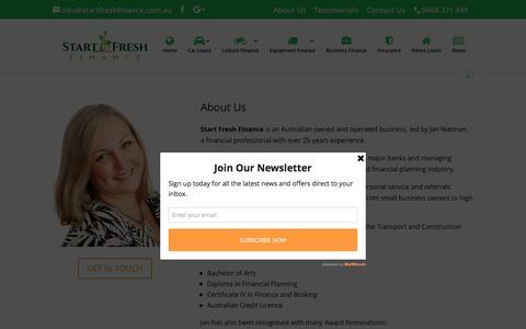 Screenshot of About Page startfreshfinance.com.au - About Us - Start Fresh Finance - captured Dec. 17, 2016