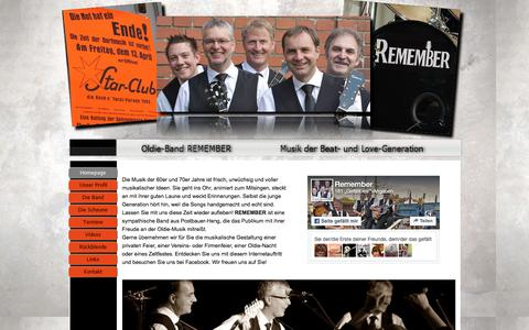 Screenshot of Home Page remember-band.de - Oldie-Band Remember - captured June 10, 2016