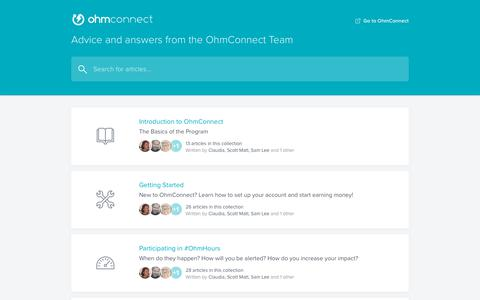 Screenshot of FAQ Page intercom.help - OhmConnect FAQ - captured July 1, 2019