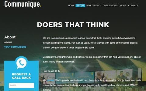 Screenshot of About Page communiquelive.co.uk - About Communique | Events Management Oxford - captured Nov. 10, 2016