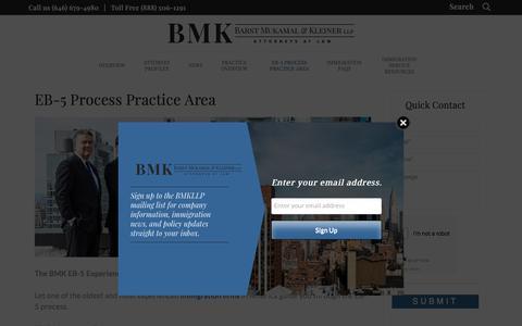 Screenshot of Signup Page bmkllp.com - EB-5 Investment Process   BMK LLP Immigration Attorneys - captured Oct. 10, 2017