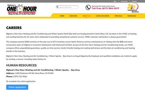 Screenshot of Jobs Page onehourheatandac.com - Careers - Bigham's One Hour Heating & Air Conditioning - captured Oct. 5, 2018