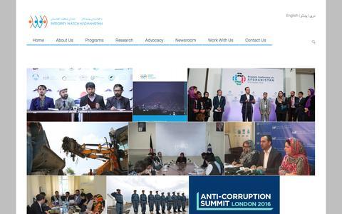 Screenshot of Press Page iwaweb.org - news   Integrity Watch Afghanistan - captured Nov. 26, 2016