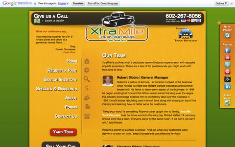 Screenshot of Team Page xtramiletruckrecyclers.com - Our Team | Xtra Mile - captured Oct. 27, 2014
