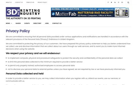 Privacy Policy - 3D Printing Industry