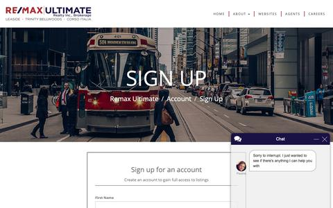 Screenshot of Signup Page remaxultimate.com - Paulina says... - captured Oct. 20, 2018