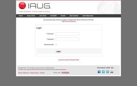 Screenshot of Login Page iaug.org captured Oct. 7, 2017