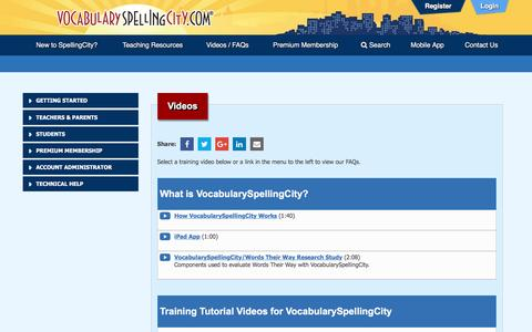 Screenshot of FAQ Page spellingcity.com - Videos | VocabularySpellingCity - captured Nov. 20, 2016